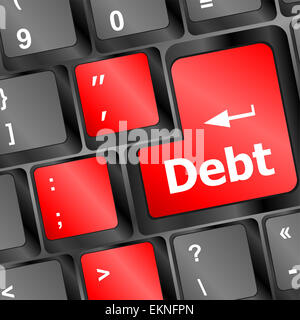 Debt red button on computer keyboard key - Stock Photo