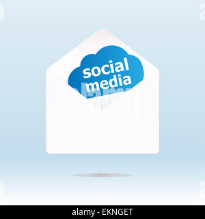 social network word on abstract blue cloud - Stock Photo