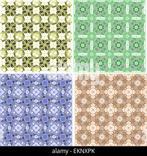 Seamless damask pattern. Flowers on a green background - Stock Photo
