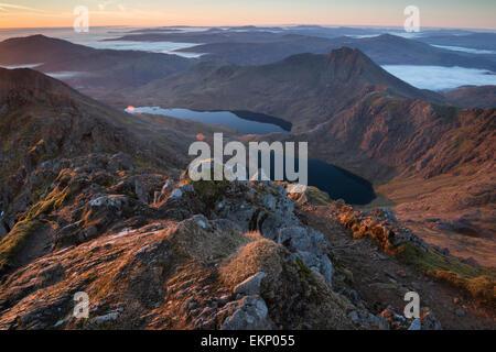 Looking down the Snowdon Massif at dawn, Snowdonia National Park, Wales, UK - Stock Photo