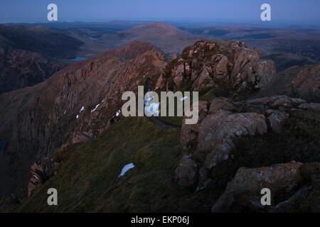 The path to Crib Goch at dusk, Snowdon Massif, Snowdonia National Park, Wales, UK - Stock Photo