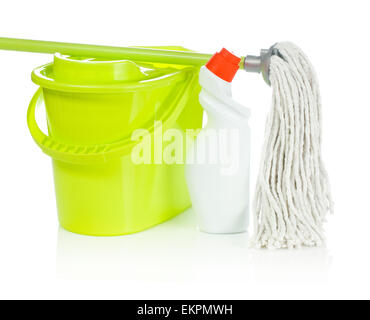bucket mop and bottle - Stock Photo