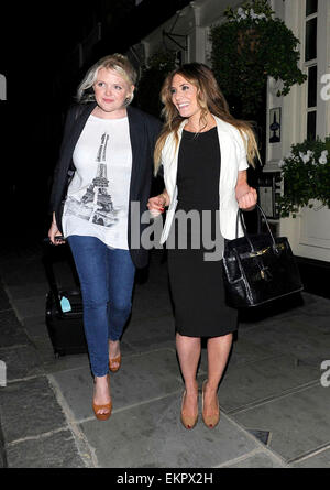 26.APRIL.2011. LONDON  SKY SPORTS PRESENTER GEORGIE THOMPSON LEAVING THE HANSOM CAB BAR AFTER HER SPLIT WITH DECLAN - Stock Photo