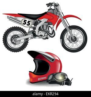 Motocross bike silhouette with helmet isolated on white. Vector illustration - Stock Photo