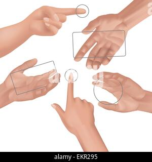 Human hands collection. Different hands, gestures. Vector illustration - Stock Photo