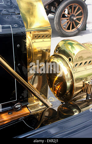 Deatail showing radiator and headlamp of a 1911 Model T Ford at Brooklands, Weybridge Surrey - Stock Photo