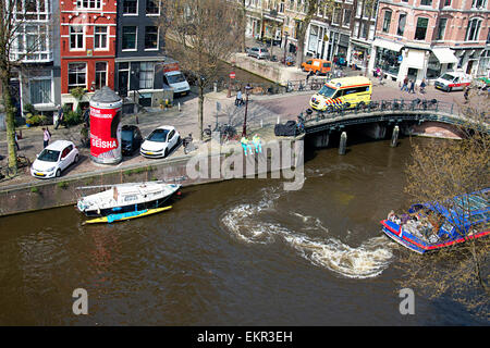 Amsterdam canal area on a beautiful morning in April. - Stock Photo