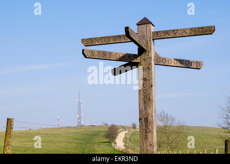 Footpath direction sign and path to Trundle Hill on Monarch's Way in South Downs National Park. St Roche's Hill - Stock Photo