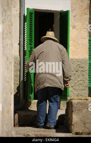 Elderly villager old man Majorca mallorca village. Orient village - Stock Photo
