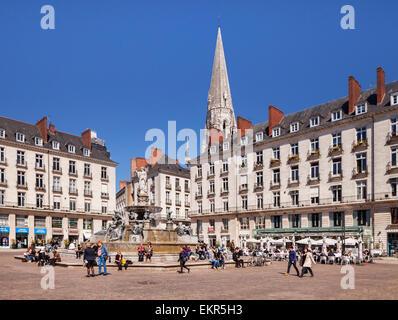 Place Royale, Nantes, Loire Atlantique, France. - Stock Photo