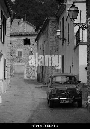 Fiat 500 seat 600 vintage fiat majorcan village mancor de la vall BLACK AND WHITE VINTAGE CAR PHOTOGRAPH - Stock Photo