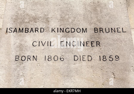 The name and date plaque on the podium of the Isambard Kingdom Brunel (famous Civil Engineer) statue along the Embankment - Stock Photo