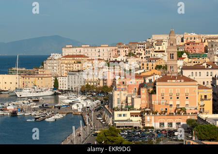 Gaeta, town centre and harbour, on the right the bell tower of Saint Erasmus Cathedral, Lazio, Italy - Stock Photo