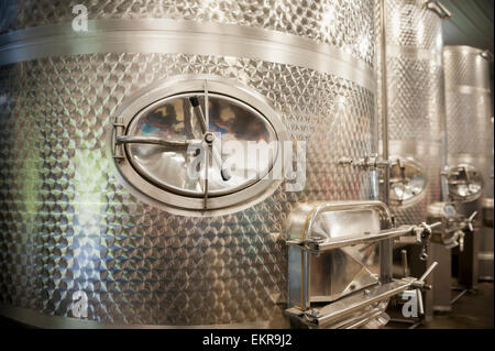 Stainless steel wine vats in Dorchester county; Cambridge, Maryland, United States of America - Stock Photo