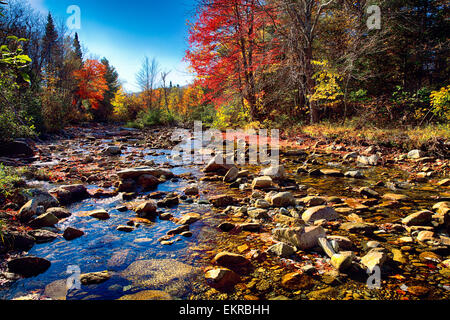 Low Angle View of a Rocky River Bed with Fall Foliage, Franconia, New Hampshire, USA - Stock Photo