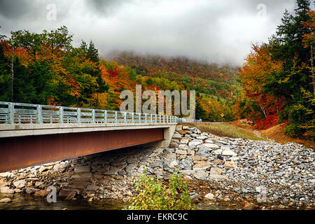 View of Bridge over the Sawyer River with Fall Foliage, Crawford Notch Road, White Mountains National Forest, New - Stock Photo