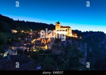 Saint-Cirq-Lapopie, Departement Lot, Midi-Pyrenees, France Europe - Stock Photo