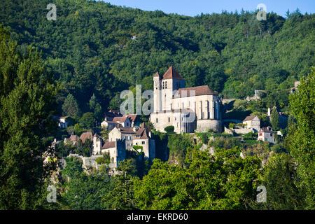 Saint-Cirq-Lapopie, Departement Lot, Midi-Pyrenees, Frankreich - Stock Photo