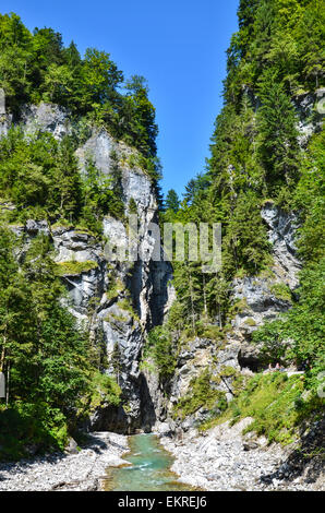 The Partnach Gorge is worth a visit in the summer and winter. Entrance on the South side - Stock Photo