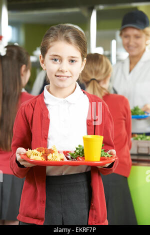 Female Pupil With Healthy Lunch In School Cafeteria - Stock Photo