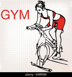 illustration of young women on stationary bikes exercising in the gym - Stock Photo
