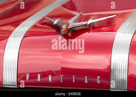 Close-up of the front of a classic Pontiac American car in Havana,Cuba - Stock Photo
