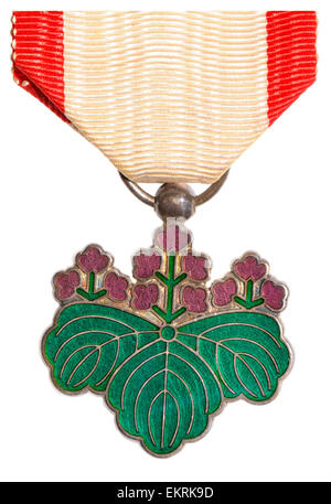 Japanese Medal: Order of the Rising Sun (7th class) - Stock Photo