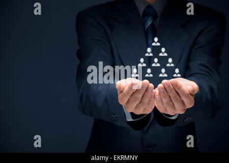 Human resources, corporate hierarchy and multilevel marketing concept. - Stock Photo