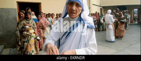 Mother Teresa of Calcutta (Mother Theresa) at her mission to aid poor, starving and suffering people in Calcutta, - Stock Photo