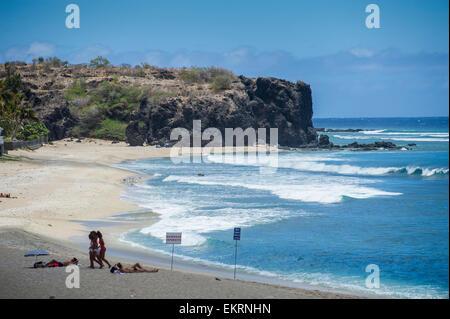 The beach at Boucan Canot, Saint-Gilles-les-Bains on Reunion Island an overseas department of France. - Stock Photo