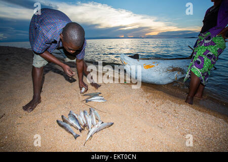 A fisherman in a traditional dug out canoe at Cape Maclear on the shores of Lake Malawi, Malawi, Africa, with his - Stock Photo