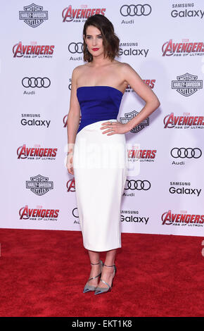 Hollywood, California, USA. 13th Apr, 2015. Cobie Smulders arrives for the Marvel's ''Avengers: Age of Ultron'' - Stock Photo