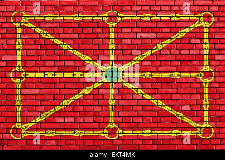 flag of Lower Navarre painted on brick wall - Stock Photo
