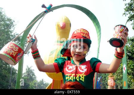 Dhaka, Bangladesh. 14th Apr, 2015. A child celebrates the Bengali New Year or Pohela Boishakh in Dhaka, Bangladesh, - Stock Photo