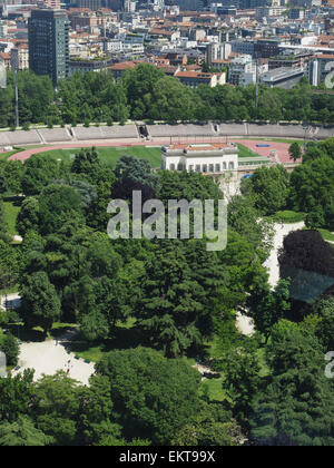 Arena Civica stadium and Parco Sempione park, Aerial view, Milan, Lombardy, Italy, Europe - Stock Photo
