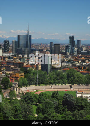 Porta Nuova district, Unicredit tower and Arena Civica stadium, Aerial view, Milan, Lombardy, Italy, Europe - Stock Photo