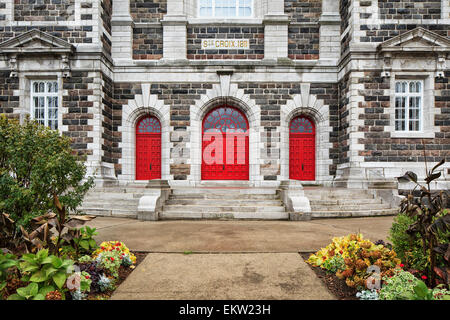 Steps To Entrance Of Old Stone Church Sainte-Croix Church;Sainte-Croix Quebec Canada - Stock Photo