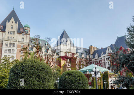 The Fairmont Empress Hotel in autumn; Victoria, Vancouver Island, British Columbia - Stock Photo