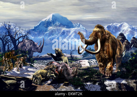 Two Neanderthals approaching a group of Machairodontinae feeding on a Woolly Rhinoceros with a group of Woolly Mammoths - Stock Photo