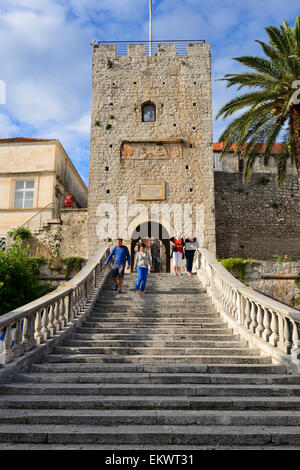 Land Gate and Revelin Tower, main entrance to old town of Korcula on Dalmatian Coast of Croatia - Stock Photo