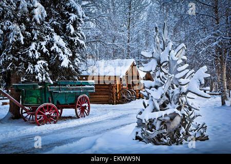 Interior alaska log cabin forest winter porch light snow - Interior women s health fairbanks ak ...