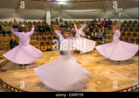 Whirling Dervish dancers, Pamukkale, Turkey - Stock Photo