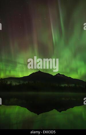 Northern Lights over Mendenhall Lake, Tongass National Forest, Southeast Alaska - Stock Photo