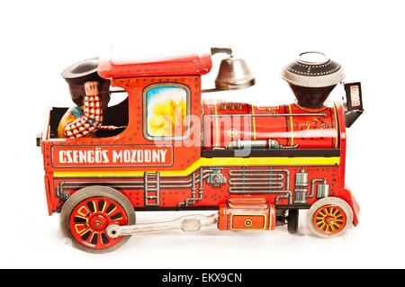 vintage steam locomotive tin toy - Stock Photo