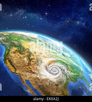 Very high definition picture of planet earth in outer space with a cyclone on USA soil. Elements of this image furnished - Stock Photo