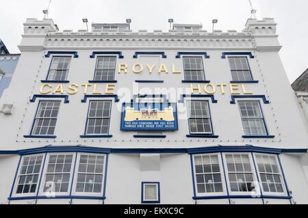 Royal Castle Hotel in the Devon coastal town of Dartmouth - Stock Photo