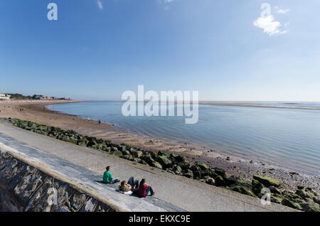 View of the River Exe estuary viewed from Esplanade in Exmouth - Stock Photo