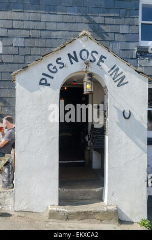 The Pigs Nose Inn public house in the South Hams village of East Prawle in Devon - Stock Photo