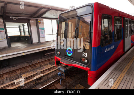 Close-up view of a Docklands Light Railway Train, as it waits at  Westferry  DLR Station. - Stock Photo