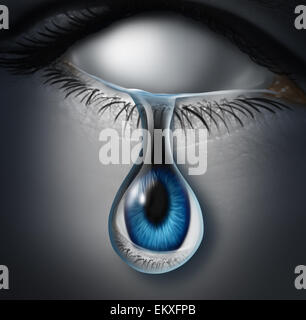 Lost person concept or anonymous victim and emotionaly drained symbol as a blank empty human crying a tear with - Stock Photo
